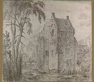 Voorburcht van kasteel Waardenburg aan de Waal, gezien vanuit het zuidwesten