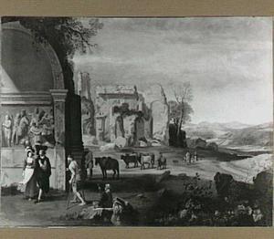 Landschap met de Boog van Titus  en figuren