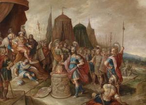 Gaius Mucius Scaevola steekt zijn arm in het vuur voor Porsenna