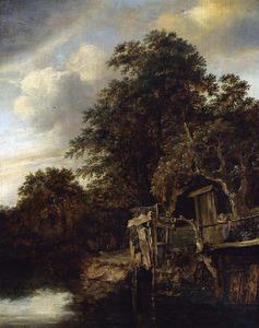 Bebost rivierlandschap met een vrouw en kind bij het water