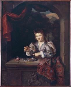 Portret van een jongen in een venster