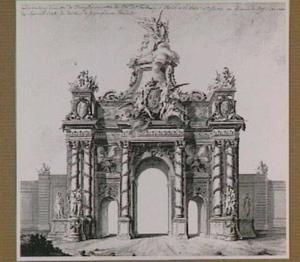 Feestdecoratie van 7 september 1745 van de Porte Saint-Martin te Parijs, veldzijde