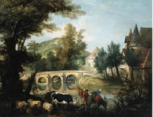 Rivierlandschap met boerenechtpaar en kudde,  op de achtergrond een brug en een watermolen