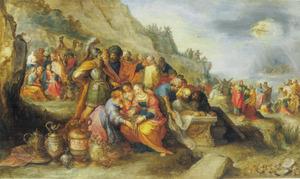 De Israëlieten rond het lijk van Jozef; op de achtergrond de ondergang van het leger van farao in de Rode Zee (Exodus 14:26)