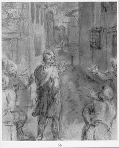 Discussiërende figuren in een straat