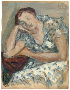 Amrey in blauw-wit zomerjurkje (Annemarie Balsiger Zürich 1909-1999 Amsterdam)