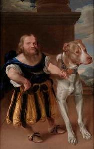 Portret van de dwerg Giacomo Favorchi met Raro, de hond van prinses Magdalena Sibylla van Saksen (1617-1668)