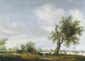 Landschap met een weg langs een rivier