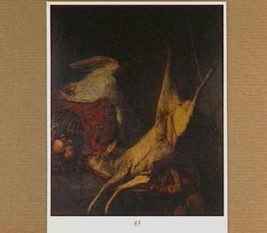 Stilleven met dode ree en gans op een gedrapeerd tafelkleed bij een mand met fruit