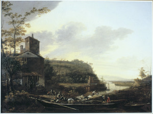 Zuidelijk landschap met vaartuigen bij een aanlegplaats