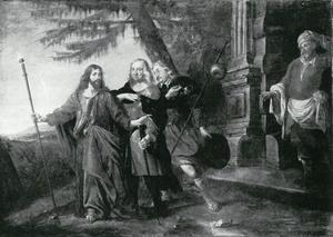 De aankomst van Christus met zijn discipelen bij de herberg in Emmaus: portrait historié van graaf Johann von Nassau-Idstein als de apostel Petrus