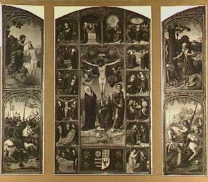 De doop van Christus en de H. Jacobus de Meerdere verslaat de Saracenen (links), de kruisiging omringd door de zeven vreugden en de zeven smarten van Maria (midden), de boetvaardige H. Hieronymus en de H. Joris verslaat de draak (rechts)