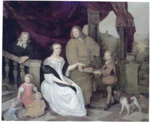 Portret van een familie op een terras