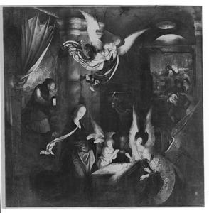 De geboorte  (op de binnenzijde: Jozef met de bloeiende staf bij het altaar)