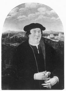 Portret van een man voor een landschap, met in de achtergrond taferelen uit het scheppingsverhaal