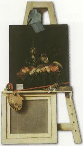 Trompe l'oeil van een uitgezaagde schildersezel met vruchtenstilleven