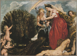 Juno plaatst de ogen van Argus in de staart van de pauw