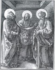 De H. Veronica met de zweetdoek, geflankeerd door de H. Petrus (links) en H. Paulus (rechts)