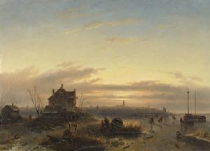 Wintergezicht met een stad in de verte