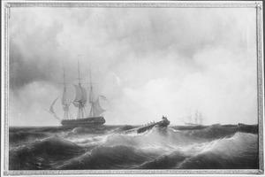 Het fregat Zr. Ms. 'Prins van Oranje' en het korvet 'Juno' onder bevel van Prins Hendrik in de Middellandse Zee, 'Man over boord' op 1 augustus 1846