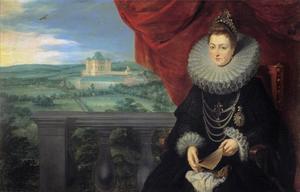 Portret van Isabella van Spanje (1566-1633) met op de achtergrond het kasteel van Mariemont