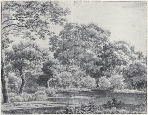 Vijver in het Haagse Bos met twee figuren