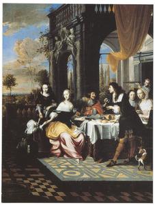 Elegant gezelschap rond een tafel op een terras