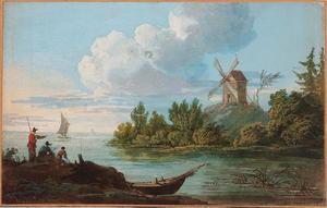 Kustlandschap met een windmolen