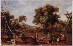 Landschap met reizigers en wandelaars op een weg langs een dorp