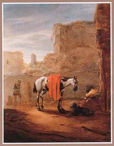 Landschap met rustende ruiter bij een ruïne