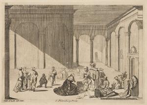 Interieur met soldaten die buit inspecteren en een smekende vrouw