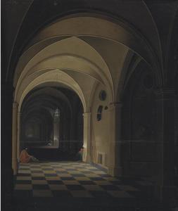 Interieur van een gevangenis met slapende bewakers, Sint Petrus in de achtergrond (Handelingen 12: 6-19)