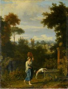 Arcadisch landschap met een vrouw die een kruik op haar hoofd houdt bij een bron