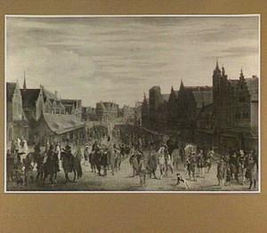 Het afdanken der waardgelders door Prins Maurits op de Neude te Utrecht, 31 juli 1618