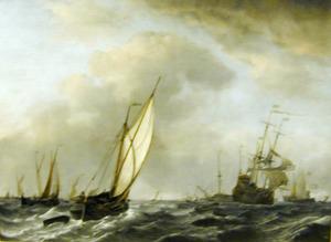 Schepen in woelig water, in de verte een oorlogsvloot