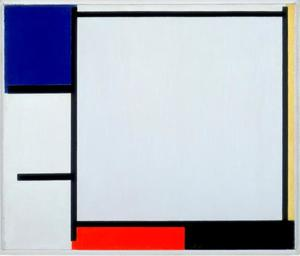 Composition with blue, yellow, red, black, and gray