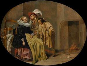 Elegant paar met een waarzegster in een interieur