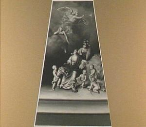 Schildersezel met een allegorische voorstelling op de schilderkunst