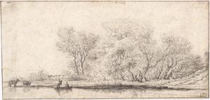 Boomrijk rivierlandschap met figuren