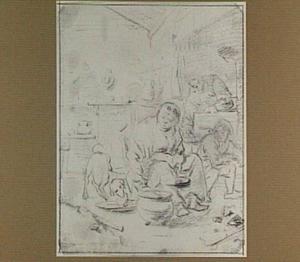 Interieur met figuren en hond