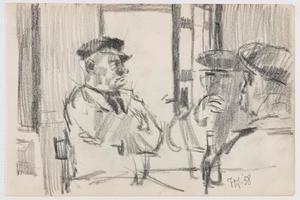 Zittende mannen in café