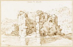 Ruïne van de zogenaamde tempel van Apollo aan het meer van Averno, bij Pozzuoli