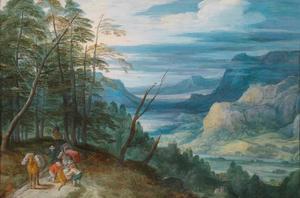 Berglandschap met een breed rivierdal en reizigers