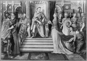 Filips II als koning Salomo die door de koningin van Seba op de proef gesteld wordt met raadsels (1 Koningen 10:1-3; 2 Kronieken 9:1-2)