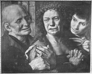 Wenende vrouw met krans van kersen in het haar geflankeerd door een oude en een jonge man