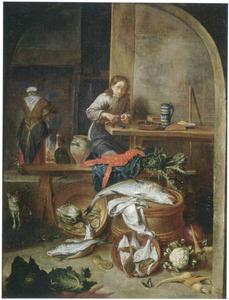 Keukeninterieur met jongen die mosselen schoonmaakt