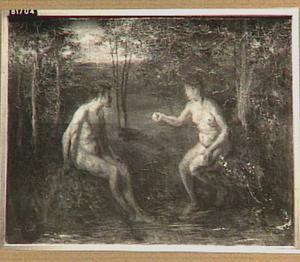 Eva biedt Adam het verboden fruit aan (Genesis 3:6)