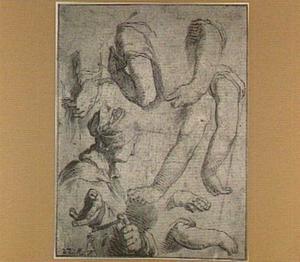 Studie van armen, handen en een vrouwenhoofd