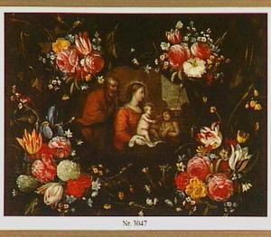 Bloemen rond een voorstelling van de Heilige familie met Johannes de Doper