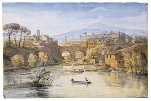 Italianiserend heuvellandschap met stad bij stenen brug